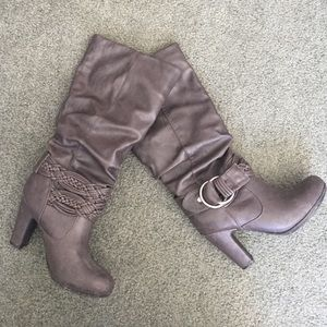 Gray high heeled boots