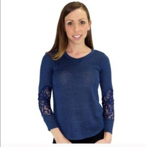 Relished Tops - Relished Jacinthe Navy  Lace Sleeve Top