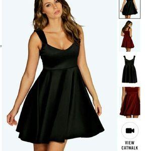 Boohoo Black Wide Strap Sweetheart Skater Dress