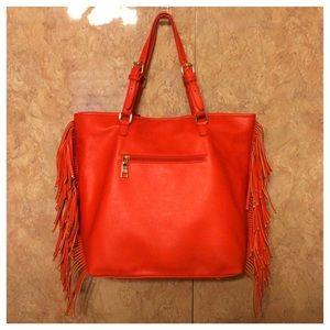 BCBG Paris Red Fringe Bag NWT