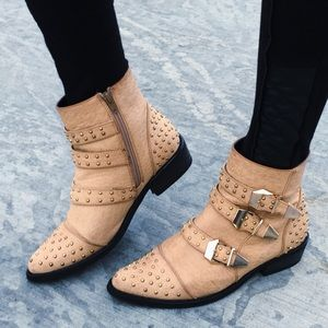 Tan Studded Ankle Boots