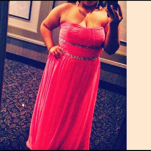 Strapless Coral Evening Gown   Poshmark