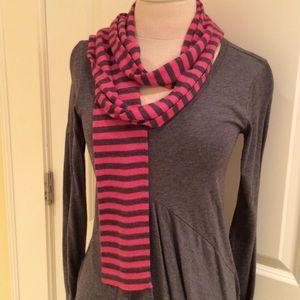 Gap Pink and Grey stripe skinny wool scarf