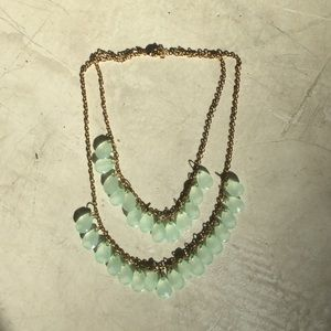 Jewelry - Gold and clear blue/green necklace