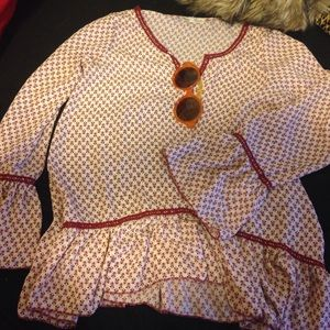 1970s flared sleeve ends blouse