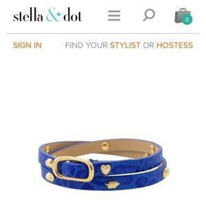 Stella and Dot Hudson blue leather wrap bracelet