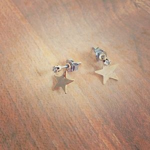 Star & Cubic Zirconia Gold Tone Post Earrings