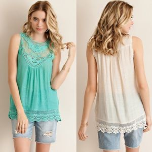 1 HR SALEKYLIE sleeveless crochet top - MINT