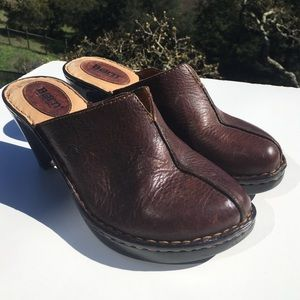 Born Shoes - Born Brown Leather Clogs
