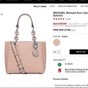 dc12001ffd2b MICHAEL Michael Kors Bags - Michael Kors Cynthia mini satchel