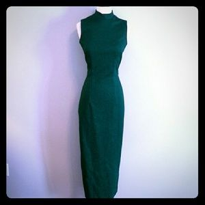 Vntg? Metallic green ankle dress