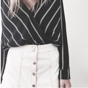 Tops - [Boutique]striped surplice top