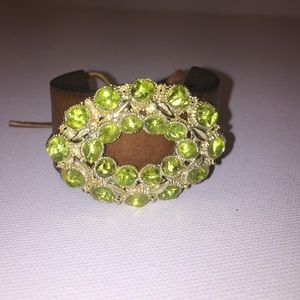 Handmade leather embellished tie cuff bracelet 🍀