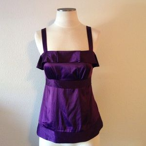 The Limited Tops - The Limited-Aubergine Satin Square Neck Tank SZ S