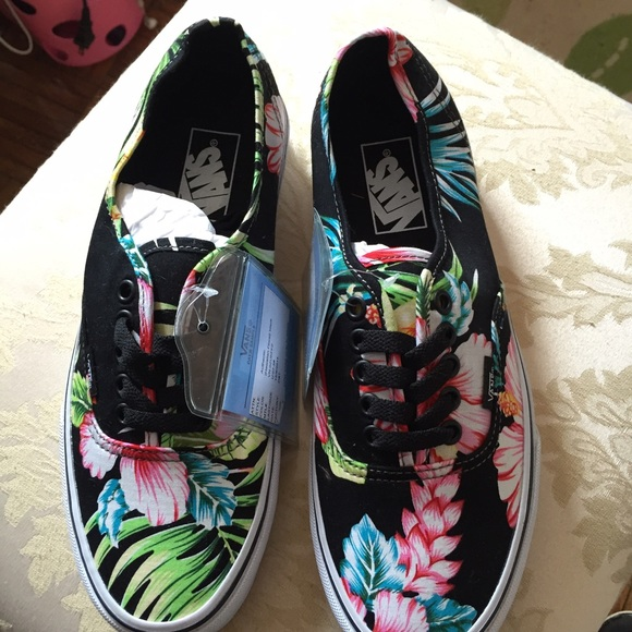Vans Flower Print Women Old Skool Black Skate Shoes #Vans