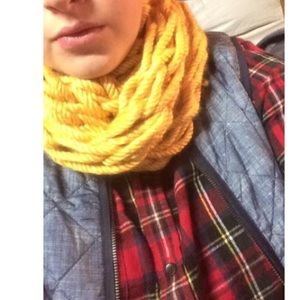 Handmade knit infinity scarf