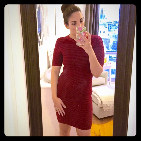 9d9409d3df Brand New Torn by Ronny Kobo Red Ribbed Dress