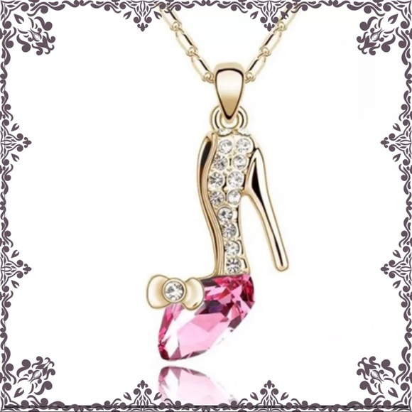 Jewelry cinderella pink glass slipper shoe necklace gold poshmark cinderella pink glass slipper shoe necklace gold aloadofball Choice Image