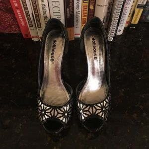 Silver with black burst design heels