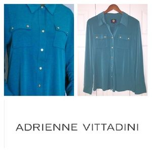 Adrienne Vittadini Tops - Adrienne Vittadini Teal button down blouse