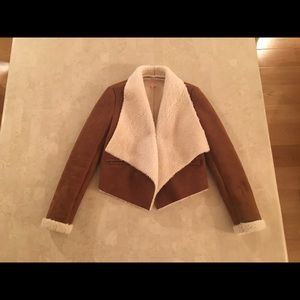 Faux shearling drape jacket