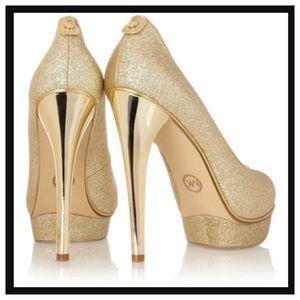 Michael Kors Gold Glitter Platform Peep-Toe Pumps
