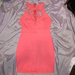 Coral pink bodycon cage dress