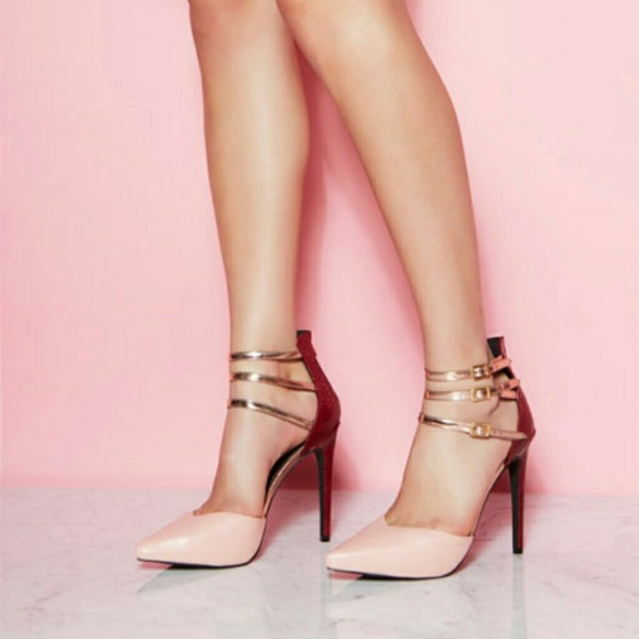 62% off Shoes - Pink blush red gold colorblock heels pumps unique ...