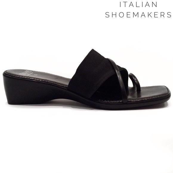 09e2eb7fff685 Italian Shoemakers Shoes - Italian Shoemakers black slip on wedges sandals