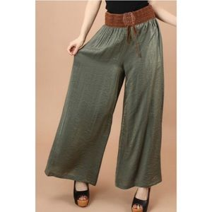 Posh Garden Pants - ALMOST GONE🔹Green Crinkle Palazzo Pants🔹LOWEST