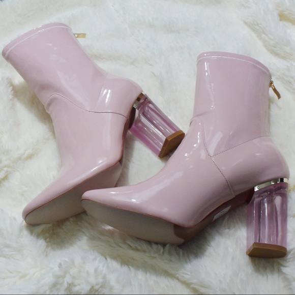 a6fb2fcfcd Ego Shoes | Pink Patent Clear Lucite Heel Ankle Boots | Poshmark