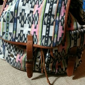 Handbags - Southwestern Print Canvas Backpack