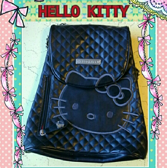 dca6c594d2 Hello Kitty Handbags - Hello Kitty Black Quilted Chain Link Backpack