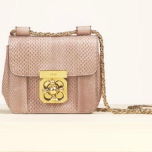 71b1b4a322bd6 Chloe Bags | Small Elsie Python Handbag | Poshmark