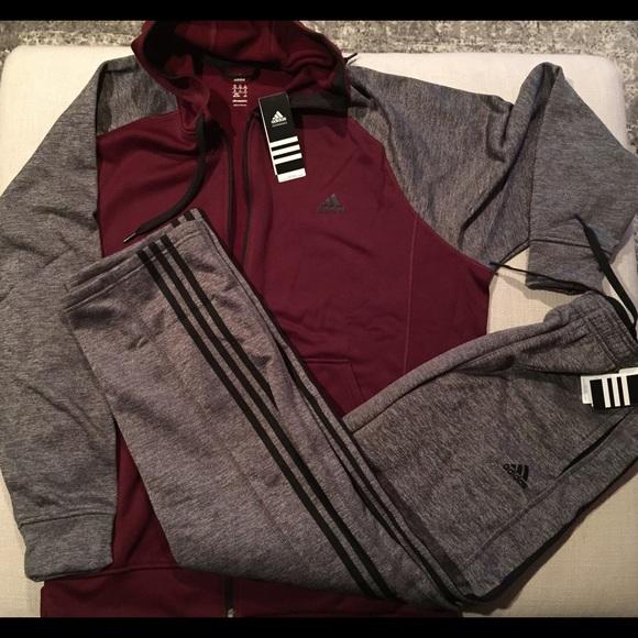 2e1df0766447 Mens Adidas Fleece Full Zip Hoodie and Pant Set