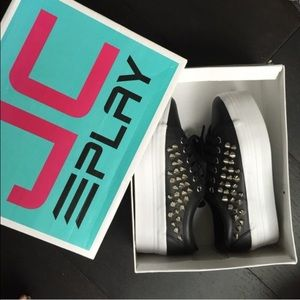 JC PLAY black/silver/white studded shoes