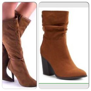 Apt. 9 Mid Shaft Suede Heeled Boots Size 7