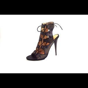 NIB black high heel lace up sandal