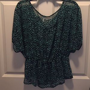Navy & turquoise peasant style boutique blouse