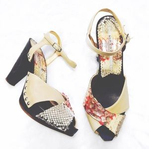 R&Renzi Shoes - Peep Toe Snake Print Wood Carved Platform Heels
