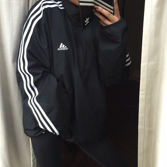 89739097f Adidas Jackets & Coats | Black And White Half Zip Windbreaker | Poshmark