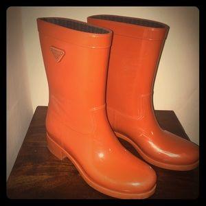 prada red rain boots