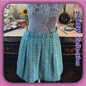 J.Crew Turquoise & Blue Cotton /Rayon/ Wool Skirt