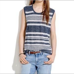 Madewell striped linen muscle tee M