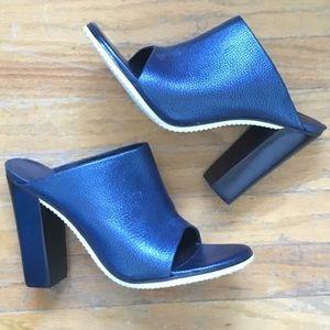 "Tibi Shoes - Tibi Blue ""Bee"" Leather Mules"