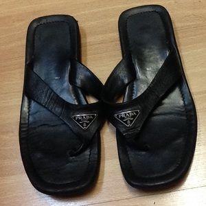 leather prada sandals