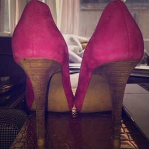 Lord & Taylor Shoes - Ash Pink Suede Leather Wood Heel Pump