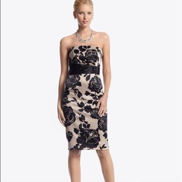 Black Strapless Satin Dress