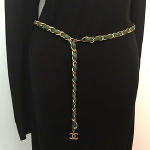Chanel Gold Chain + Leather Belt