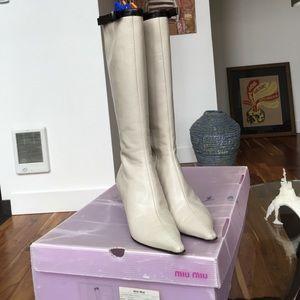 Miu Miu cream leather knee high boots w/ black bow